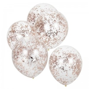 Rose Gold Foil Confetti Filled Balloons - 5pk