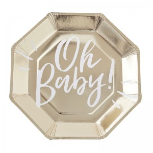 Baby Shower - Oh Baby Gold Paper Plates