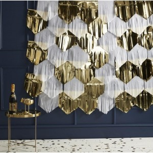 Backdrop Decoration - White & Gold Fringe