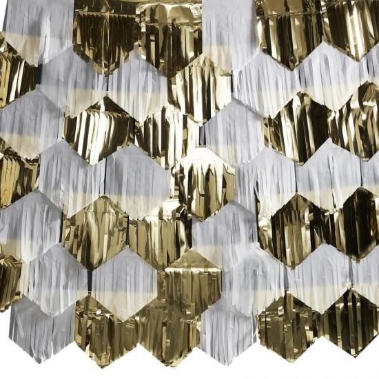 Backdrop Decoration - White & Gold Fringe