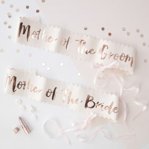 Pink & Rose Gold Foiled Sashes - Mother of the Bride & Groom