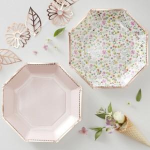 Rose Gold & Floral Paper Plates