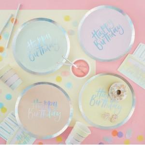 Pastel 'Happy Birthday' Paper Plates