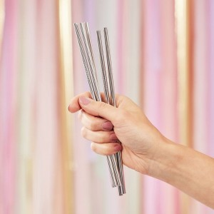 Silver Stainless Steel Straws