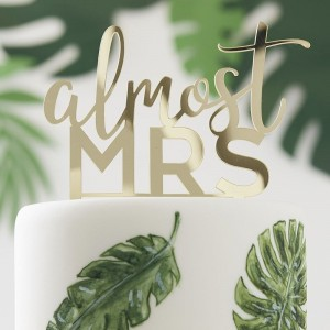 'Almost Mrs' Gold Acrylic Cake Topper