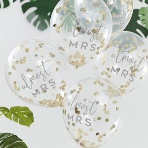'Almost Mrs' Gold Confetti Filled Balloons - 5pk