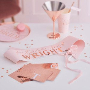 Customisable Bride To Be - Pink & Rose Gold Sash