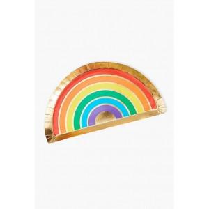 Rainbow & Gold Foil Paper Plates