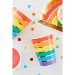 Rainbow & Gold Foil Paper Cups