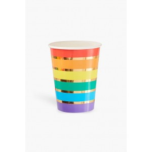 Rainbow & Gold Foil Paper Cups