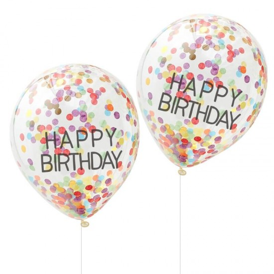 Rainbow Confetti Filled Happy Birthday Balloons - 5pk