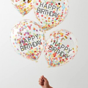 Rainbow Confetti Filled Happy Birthday Balloons - 5pk
