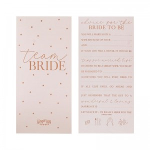 Rose Gold Foiled Hen Party Advice For The Bride Cards