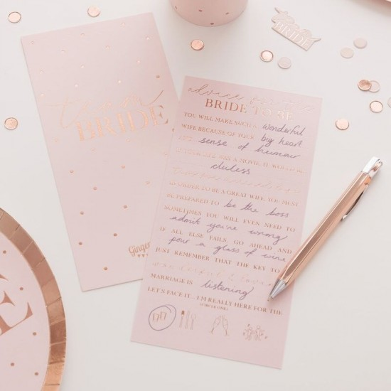 Hen Party 'Advice For The Bride' Rose Gold Foiled Cards