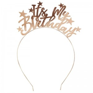 'It's My Birthday' Gold Metal Headband