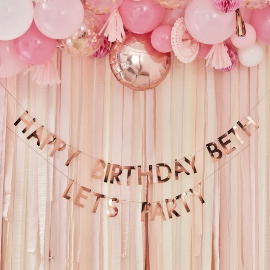 Personalised Birthday Banner Rose Gold