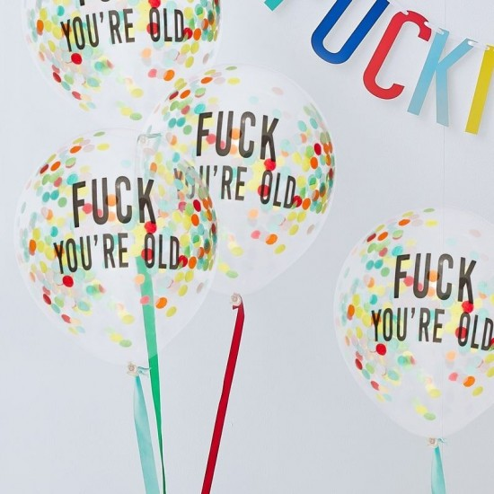 F*ck You're Old - Gold Confetti Filled Balloons - 5pk