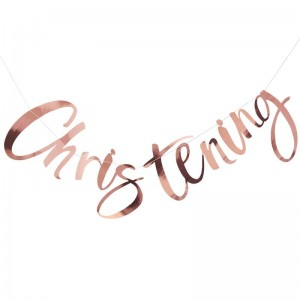 'Christening' Rose Gold Backdrop Bunting