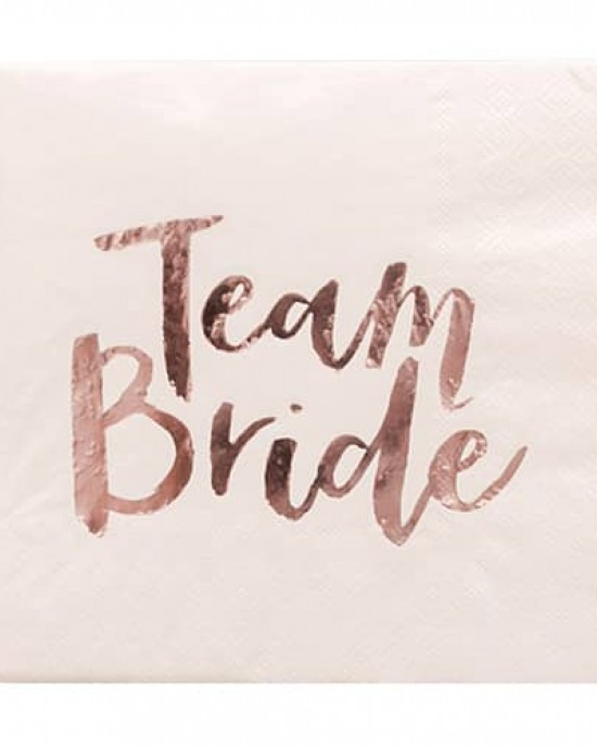 Pink & Rose Gold 'Team Bride' Napkins