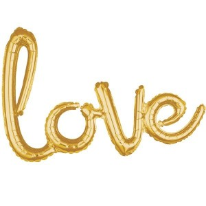 Script 'Love' Gold Balloon