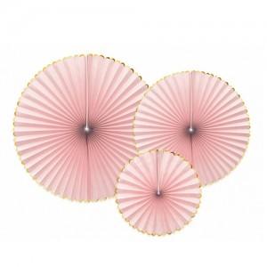 Trio Paper Fan - Light Pink & Gold
