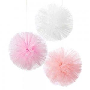 Pink & White Tulle Pom Poms