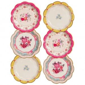 Vintage Design Floral Paper Plates