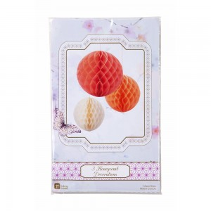 Trio of Honeycomb Decorations - Blush