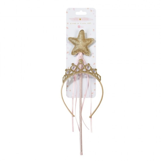 We ♥ Pink Gold Wand & Tiara Set