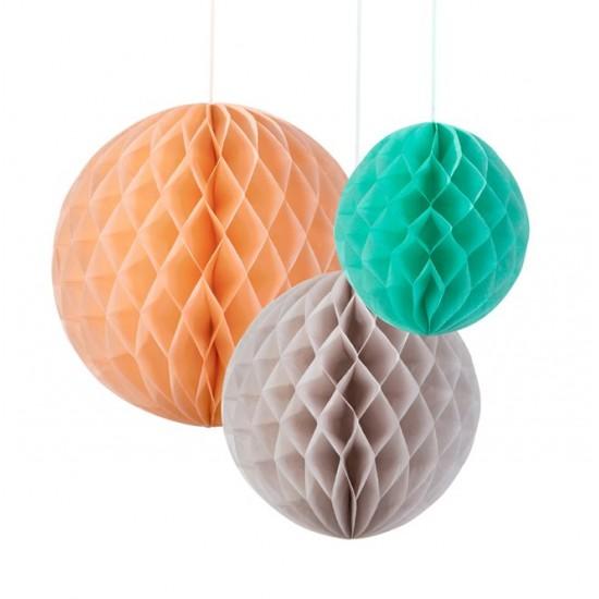 Trio of Honeycomb Decorations - Silk