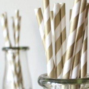 Gold Striped Straws