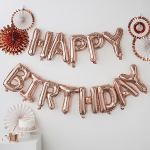 'Happy Birthday' Rose Gold Balloon Kit