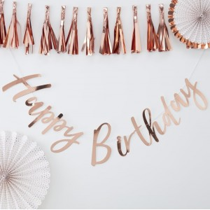'Happy Birthday' Rose Gold Backdrop Bunting
