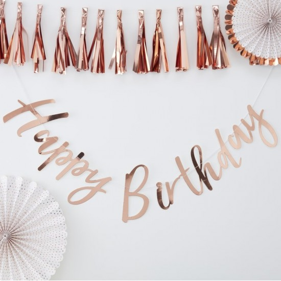 Happy Birthday - Rose Gold Backdrop Bunting