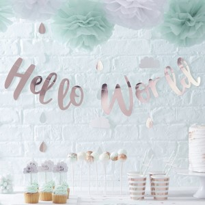 Baby Shower - 'Hello World' Rose Gold Bunting