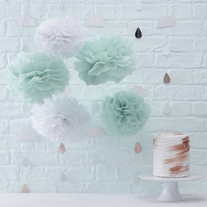 Mint & White Pom Poms