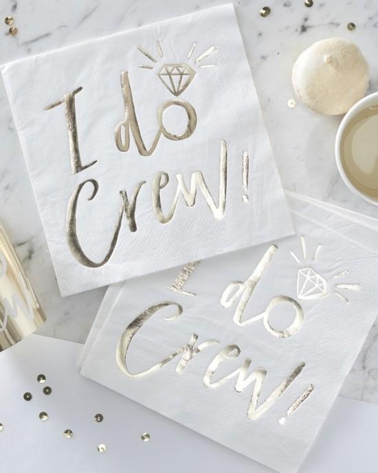 'I Do Crew' Gold Foiled Napkins