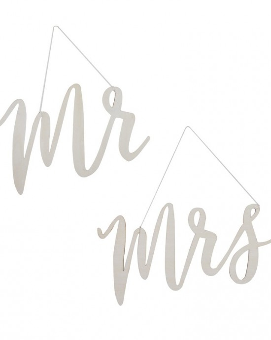 'Mr & Mrs' Wooden Chair Signs