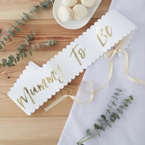 'Mummy To Be' White & Gold Sash