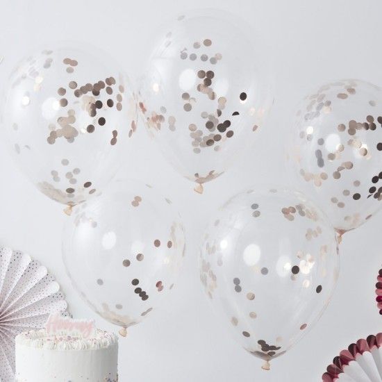 Rose Gold Confetti Filled Balloons - 5pk