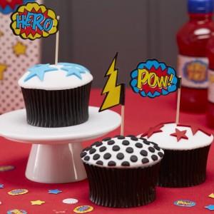 Superhero Party Cupcake Picks