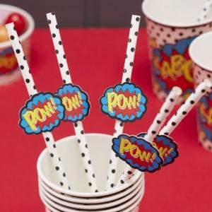 Superhero Party Paper Straws