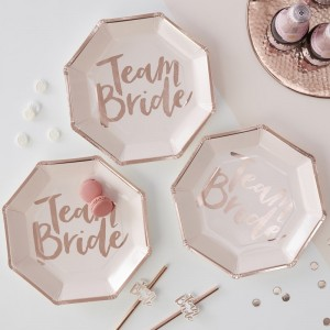 Pink & Rose Gold 'Team Bride' Paper Plates