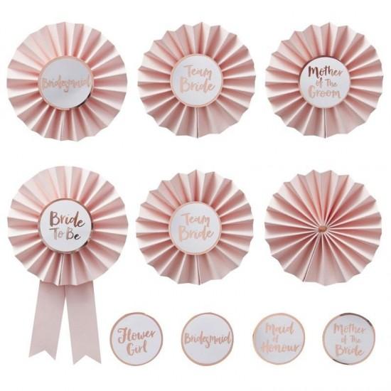 Pink & Rose Gold 'Team Bride' Badges