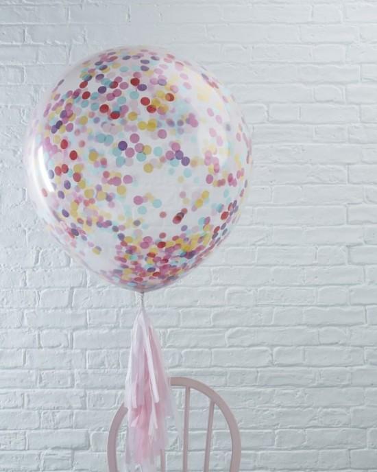 "36"" Multi-Coloured Confetti Balloons - 3 Pack"
