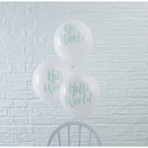 Baby Shower - 'Hello World' Balloons 10pk