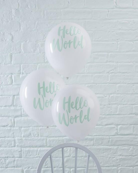 Baby Shower - 'Hello World' Balloons 10pk