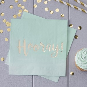 Hooray! Mint & Gold Foiled Paper Napkins