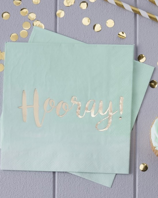 "'Hooray!"" Mint & Gold Foiled Paper Napkins"