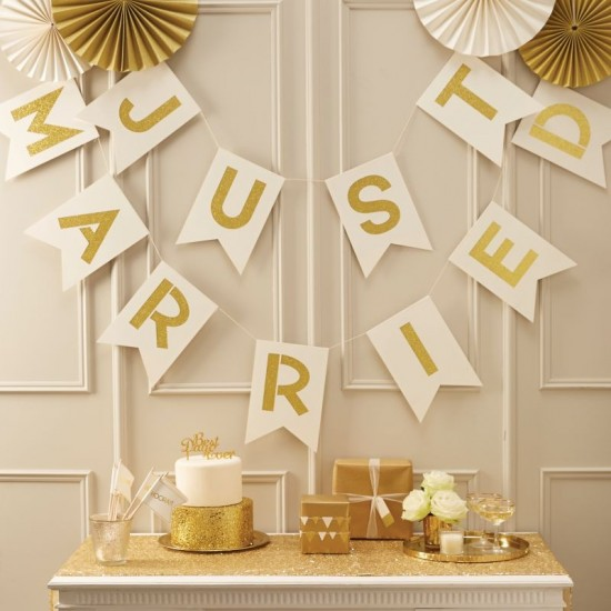 Just Married - Ivory & Gold Glittered Bunting